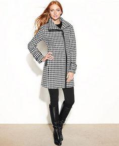 Calvin Klein Coat, Wool-Blend Faux-Leather-Trim - Coats - Women - Macy's