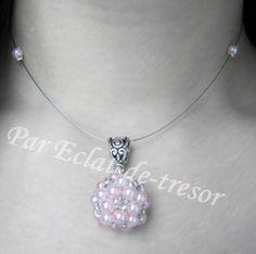 Collier Mariage Sphère tissée perles nacre rose via Eclat de tresor. Click on the image to see more!