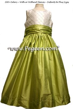 Citrus Green Flower Girl Dresses by Pegeen.com Style 357 With Ivory Pin Tuck Bodice