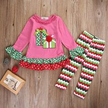 Autumn Spring Christmas Kids Baby Girls Xmas long sleeve Tops T-Shirt + Long Pants Trousers Outfits Clothes(China (Mainland))