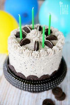 Chocolate Cookies and Cream Cake from Our Best Bites (frosting tastes like cookies and cream ice cream! Made for Wynne's birthday)