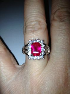 18K WHITE GOLD PLATED COCKTAIL RING WITH RUBY >> http://www.listia.com/auction/7849625