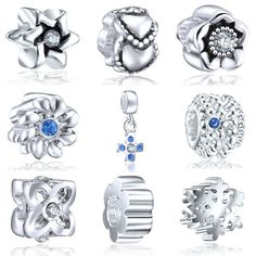 9pcs Elite Silver European Bead Charm Opal Birthstone & Swirls Barrel CZ Spacer NY03 - New Arrivals- - TopBuy.com.au