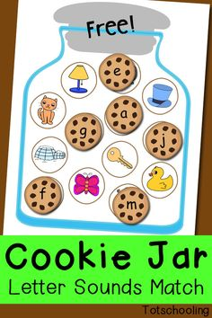 Steal this idea-- letter is the cue for the minimal contrast word under it-- tea/key kite/tight FREE Cookie Jar Letter Sounds matching for preschool and kindergarten. Practice initial letter sounds while putting alphabet cookies in the jar! Letter Sound Games, Letter Sound Activities, Abc Activities, Alphabet Kindergarten, Preschool Literacy, Toddler Preschool, Literacy Centers, Beginning Sounds Kindergarten, Kindergarten Literacy Stations