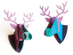 Faux Wooden Deer Trophy Mount Long White Cloud, Modern Colors, Christmas 2014, Kiwi, Deer, Indie, Hand Painted, Colours, Handmade