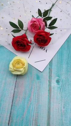 Diy Easy Embroidery, Diy Embroidery Flowers, Paper Flowers Craft, Flower Crafts, Diy Flowers, Origami Flowers Tutorial, Flower Tutorial, Paper Crafts Origami, Origami Art