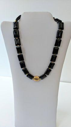 Black onyx beaded necklace, gemstone beaded necklace, black necklace, gold necklace, chunky necklace, statement necklace, big bold necklace by GillsJewells on Etsy