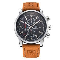 Benyar Men Watch Top Brand Luxury Male Leather Waterproof Sport Quartz Chronograph Military Wrist Watch Men Clock relogio
