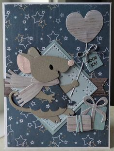 Scrapbook Cards, Scrapbooking, Marianne Design Cards, Elizabeth Craft, Cute Mouse, General Crafts, Mothers Day Cards, Animal Cards, Letters And Numbers