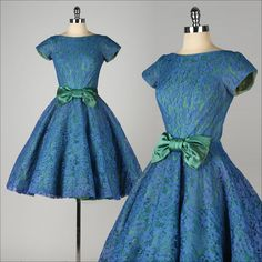 vintage 1950s dress . blue lace . green iridescent bow . full skirt . 4529 I love the colour combination