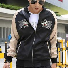 Chinese style dragon Embroidered jacket for men black bomber jacket XXXL
