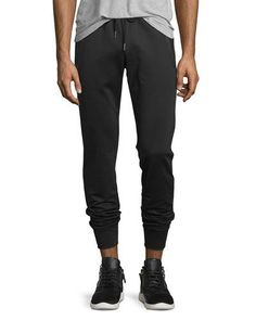 MONCLER Zip-Pockets Drawstring Sweatpants, Black. #moncler #cloth #