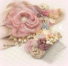 Rose Wedding Sash Blush Champagne Tan Gold Beige by SolBijou