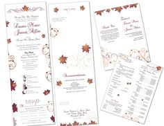 Custom designed Seal-&-Send wedding invitation and program ·