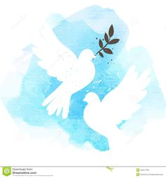 Illustration about Two vector white doves on blue watercolor background, postcard for international peace day. Illustration of spring, hope, doves - 44317736 Watercolor Postcard, Watercolor Art, Peace Poster, International Day Of Peace, Peace Dove, White Doves, En Stock, Watercolor Background, Background Ppt