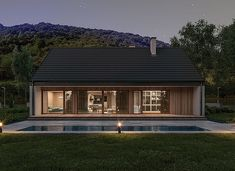 Murator C365j Przejrzysty - wariant X - zdjęcie 8 Small Modern House Plans, My House Plans, Steel House, Facade House, Home Fashion, Bungalow, Cottage, Mansions, House Styles