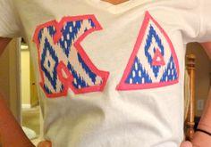 Custom Greek Letter Shirt- Blue/White Tribal Pattern. $21.00, via Etsy.