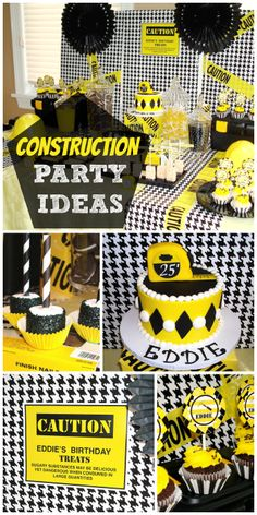 What a great construction boy birthday party with tools, warning signs and a cake topped with a tape measure. See more party ideas at CatchMyParty.com!