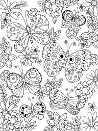 Free Printable Adult Coloring Page | Artist Felicity French | Zendoodle Butterflies