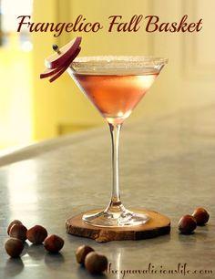 Frangelico Fall Basket...Frangelico Hazelnut Liqueur,   Hard Apple Cider,   Splash of simple syrup,   Splash of cranberry juice...   Brown sugar rim, garnish with a thin slice of apple