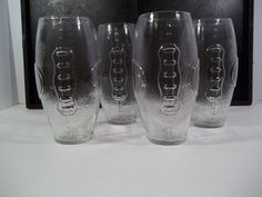 FOOTBALL SHAPED DRINKING GLASSES - CLEAR - NFL - SUPERBOWL -  Set of 4…