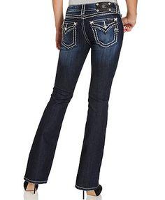 Miss Me Rhinestone-Embellished Bootcut Jeans, Dark Wash BEST PRICE: $99.00