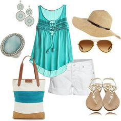 Just no to purse and hat. Shoes just ok. Top shorts jewelry good