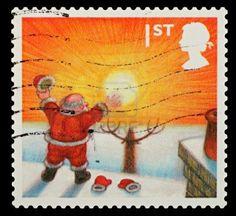 United Kingdom - Circa 2004: A British Used Christmas Postage Stamp showing Santa Claus
