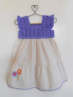 Buy Biege Purple Cotton Dress with Crochet Yoke Kids Dresses/Jumpsuits Fun in the Sun dresses details for Online at Jaypore.com