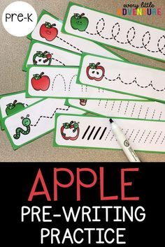 A fun apple themed pre-writing activity for preschool and pre-k. Perfect for back to school! For more Early Literacy activities, check out Every Little Adventure.