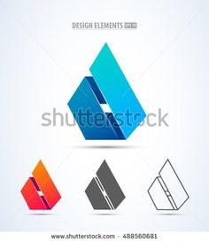 Vector abstract 3d drop logo design elements. Origami. Corporate identity. Design elements for corporate identity, cosmetics sign, app icon. Material design and ios