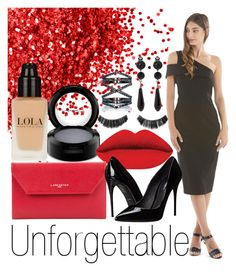 """Langhem Unforgettable Black Party Dress"" by swishclothing-official on Polyvore featuring MAC Cosmetics, Lancaster, Dolce&Gabbana, Eva Fehren, Givenchy, women's clothing, women, female, woman and misses"