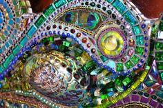 Mosaic  Paua shell & Peacock feather mirror  by NikkiEllaWhitlock
