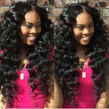 Virgin Peruvian Human Real Hair Lace Front / Full Lace / U Part Wigs Deep Wavy With Middle / Side Part For Black Women Hot Sale(China (Mainland))