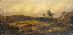 "Oil painting from the Fine Art collection. """"Near Midhurst, Sussex"" by Richard Henry Nibbs, showing a shepherd and dog herding sheep on a hill."