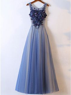 A-Line Crew Floor-Length Blue Tulle Prom Dress with Appliques Flowers