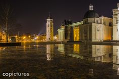 Vilnius Cathedral Square at night time Lithuania