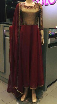 Meron and copper Bridal Anarkali Suits, Anarkali Dress, Indian Designer Outfits, Designer Dresses, Indian Dresses, Indian Outfits, Churidar Designs, Indian Bridal Fashion, Types Of Dresses