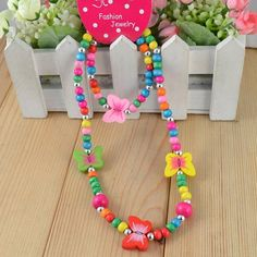 mobile site-Free shipping Children jewelry best baby products!Wholesale children/kid jewelry set handmade butterfly necklace CS03