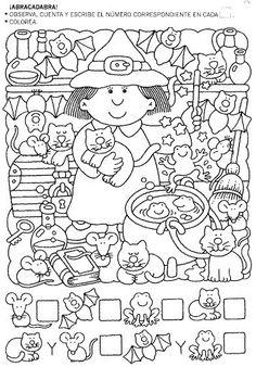 Halloween Worksheets, Halloween Activities, Preschool Worksheets, Preschool Activities, Theme Halloween, Fall Halloween, Halloween Crafts, Halloween Stuff, Hidden Pictures