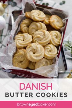 Danish Butter Cookies : A red tin filled with Danish butter cookies. These Danish Butter Cookies taste just like the ones in the iconic Royal Dansk blue tin; this simple recipe makes the best piped butter cookies! Cookie Desserts, Cookie Recipes, Dessert Recipes, Butter Cookies Recipes, Brown Butter Cookies, Cheesecake Cookies, Meringue Cookies, Holiday Baking, Christmas Baking