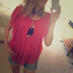 NWOT Free People Red/Orange Top - L One of the comfiest tops ever. GORGEOUS/insta-chic! Says large but with the flowy nature of the top I think it's more a one size fits all style. Will keep if I don't sell so Price firm. No trades please, THX!  Free People Tops