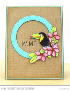 Polynesian Paradise, Burlap Background, Pierced Circle Frames Die-namics - Julie Dinn