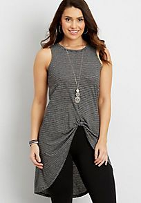 striped tunic tank with knot front and high-low hem - alternate image