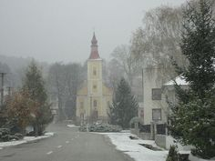 Snowing near Trnava, Slovkia