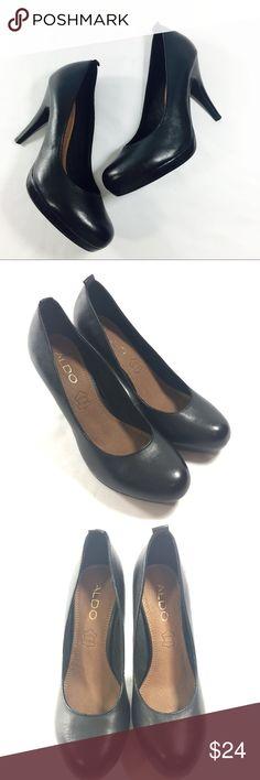 Aldo Orrala Black Leather Heels 7.5 M Aldo Black Leather Heels  Round Toe  7.5 M Aldo Shoes Heels