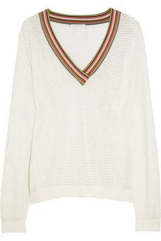 Chloé Stripe-trimmed open-knit cotton-blend sweater | NET-A-PORTER -- reminds me of the late 70s