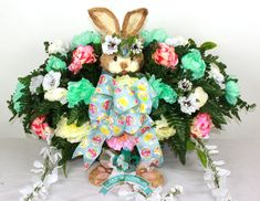 XL Spring Easter Bunny Cemetery Saddle Arrangement from Crazyboutdeco by Crazyboutdeco on Etsy Casket Sprays, Cemetery Flowers, Silk Flower Arrangements, Floral Supplies, Party Entertainment, Silk Flowers, Easter Bunny, Party Planning, Wedding Favors