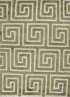 Green rug with modern geometric pattern. Free Shipping
