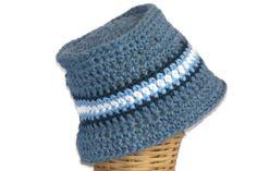 Baby Bucket Hat Infant Hat Denim Blue with by lousknittingroom, $14.00